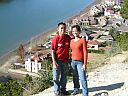 My Sis and I at Austin on a mountain overlooking the Colorado River and some sweet houses.